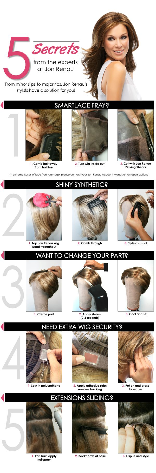 How to care a smart lace fray, reduce the shine on a synthetic hair wig, change the part of a synthetic hair wig, secure your wig to your head with adhesives, and prevent extensions from sliding.