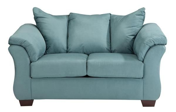 Darcy Contemporary Sky Wood Pillow Back Loveseat