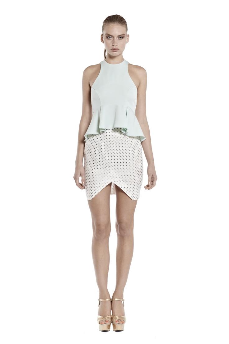vanishing point peplum top & nothing but the truth mini skirt