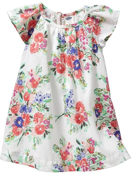 Floral Flutter-Sleeve Dresses for Baby Product Image