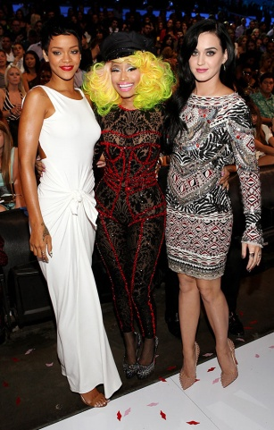 Rihanna, Nicki Minaj, and Katy Perry on the scene at the 2012 MTV Video Music Awards in Los Angeles. | MTV Photo Gallery