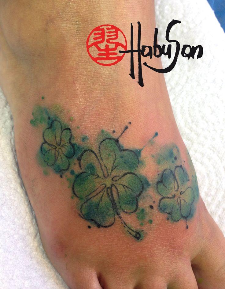 Irland in Tattooform als Kleeblätter mit Watercolours! Danke, liebe Nadja! #tattoo #habusan #watercolour #Wien