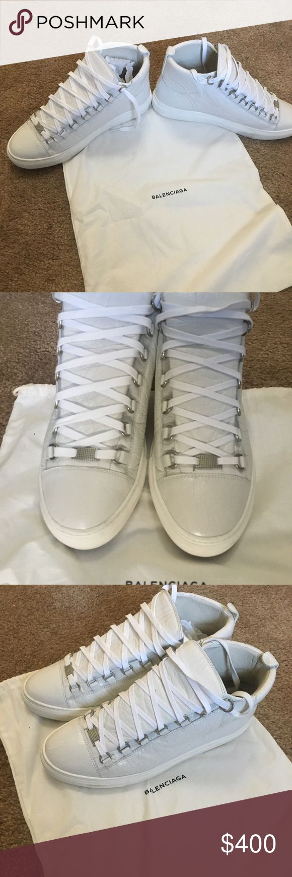 Balenciaga Arena Sz 42 These beautiful, white leather Balenciaga Arenas are a great addition to any closet! The creasing, calfskin leather and the rubber canvas bottoms are a classic Balenciaga design. These shoes are in 9/10 condition, worn carefully about 2 or 3, and are 100% authentic, bid with confidence! Balenciaga Shoes Sneakers