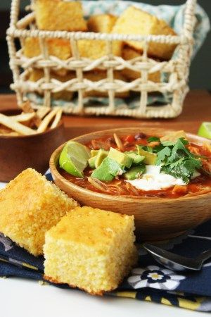 If you like chili con carne then you will love Chicken Tortilla Soup! Made with crispy fried corn tortillas and shredded chicken. Complete with a classic cornbread recipe!