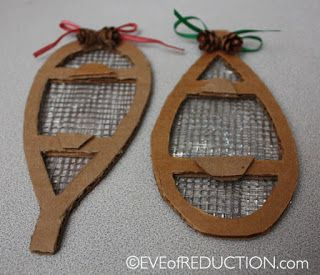 Recycled Craft: How to make a Snowshoe Holiday Ornament from recycled cardboard and onion bags- Eve of Reduction