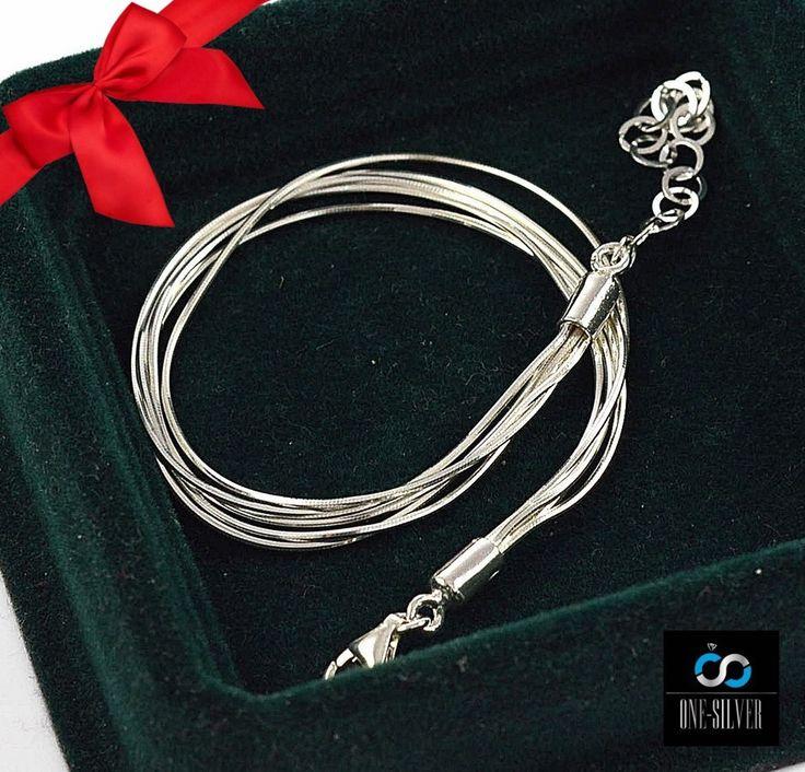 Bransoletka 5 zmijek 19cm+4cm srebro 925 GRATIS