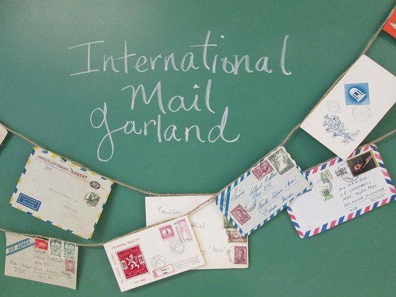 World Mail Banner, Made to Order, Air Mail, Bon Voyage, Travel, Vintage Mail, Envelope Art, Par Avion, Travel Wedding, Pen Pal, Snail Mail
