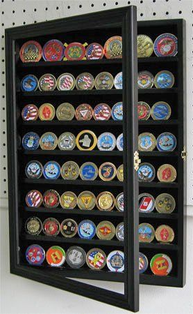 56 Challenge Coin / Casino Chip Display Case Cabinet Holder Shadow Box, with Glass Door (COIN56-BL) by Displaygifts.com, Display Cases at Factory Direct. $42.95. Hinged glass door to prevent dust and protect.. Crafted from selected solid wood.. Wall mountable, with metal brackets on back, ready for hanging.. Gallery Quality at factory direct prices.. Grooves on shelves to holds 56 Challenge Coins.. Can also be used as Casino Chip Display Case. 7 shelves with groove to keep the...