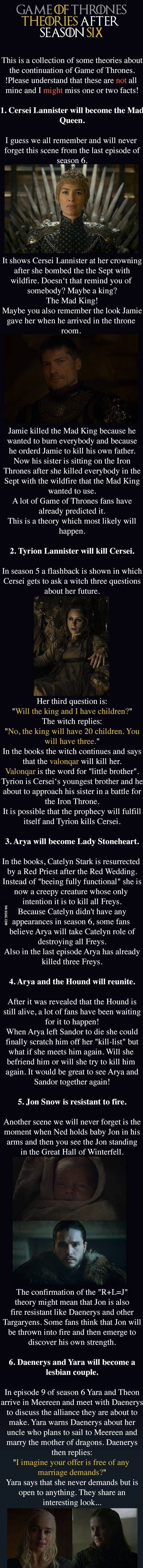 Collection of Popular Game of Thrones Fan Theories (After Season 6)
