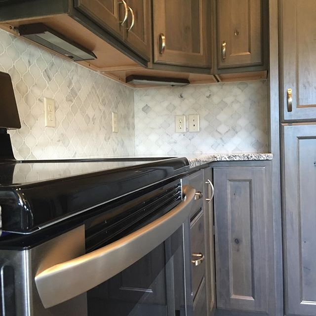 White Arabesque Kitchen Backsplash