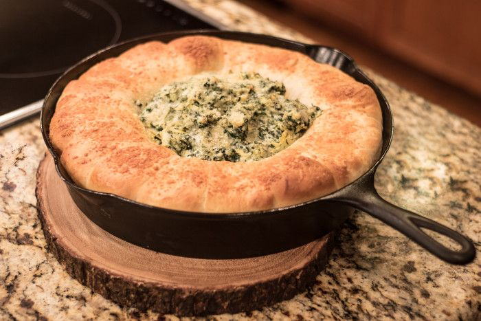 Spinach Artichoke Dip and Rhodes Dinner Rolls in my cracked ERIE no. 11 Cast Iron Skillet The Pan Handler
