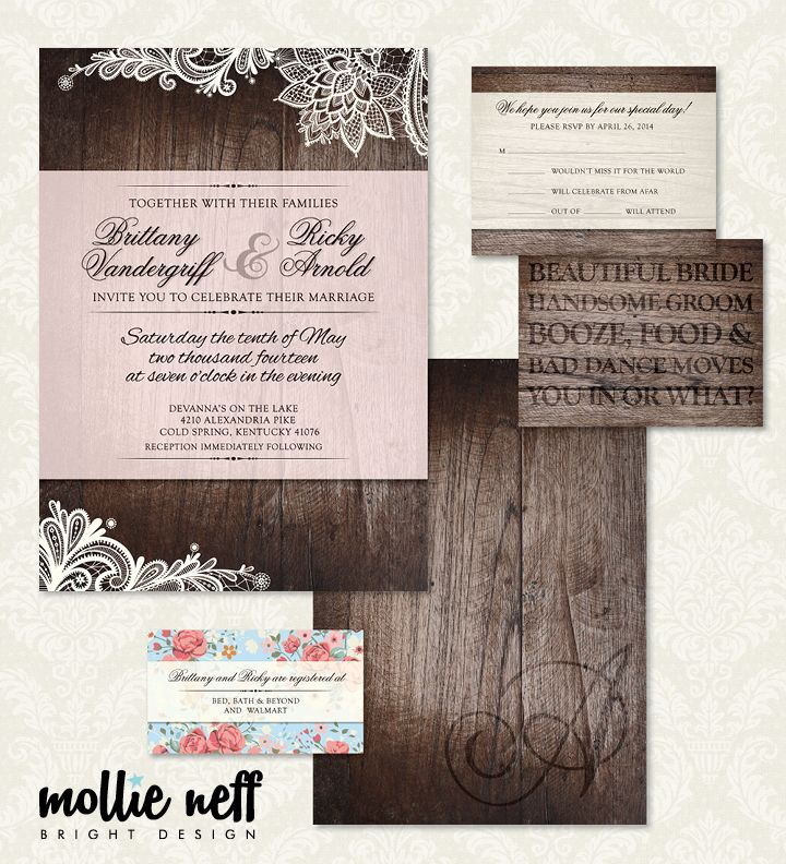Vintage Chic Wooden Wedding Invitations by Mollie