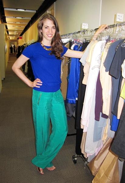 green silk pants