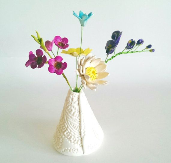 Ceramic Australian Wild Flowers in a textured vase all hand crafted