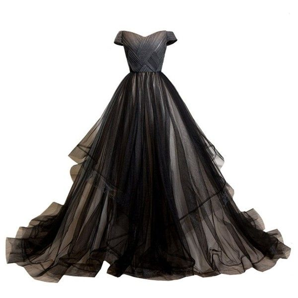 LYNBRIDAL Women Black Wedding Evening Dress Ball Gown Tulle Long Prom... (£83) ❤ liked on Polyvore featuring dresses, gowns, long dresses, ball gown, long gown, long evening gowns, long evening dresses, off the shoulder long dress and off shoulder gowns