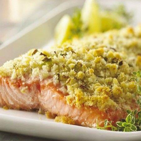 Salmone al forno in panure di pane, parmigiano e limone - Fresco Pesce