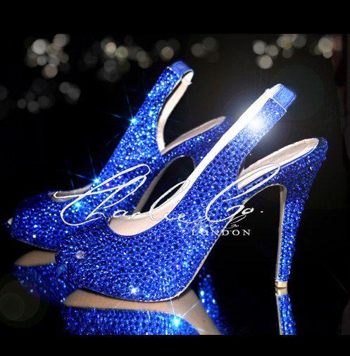 CHARLIE CO Sapphire Navy Cobalt Blue 45 Slingback Peep Toe High Heels Bridal Wedding Prom