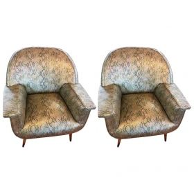 Pair Of Italian Mid Century Club Chairs W Faux Snake Skin