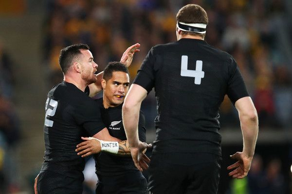 Ryan Crotty Photos Photos - Ryan Crotty of the All Blacks celebrates with team mates after scoring a try during the Bledisloe Cup Rugby Championship match between the Australian Wallabies and the New Zealand All Blacks at ANZ Stadium on August 20, 2016 in Sydney, Australia. - Australia v New Zealand