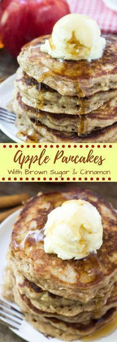 These apple pancakes are light & fluffy like your favorite buttermilk pancake recipe. Then they're filled with cinnamon and brown sugar - so they taste like apple pie in pancake form. Perfect for fall! #buttermilkpancakesrecipesugar