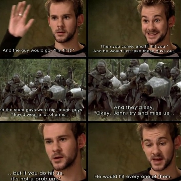 Dom on John Rhys-Davies. I love the way he sounds when he is trying to talk like John. <3