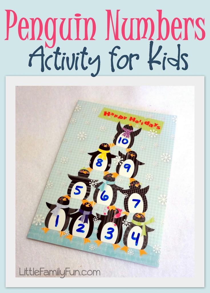 Classroom Game Ideas For Kindergarten ~ Penguin numbers activity math activities for kids