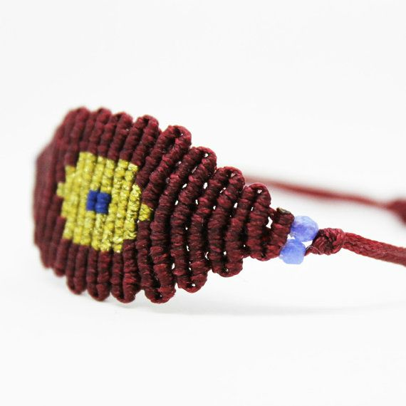 Evil eye Bracelet  Micromacrame adjustable by MyCraftYourArt