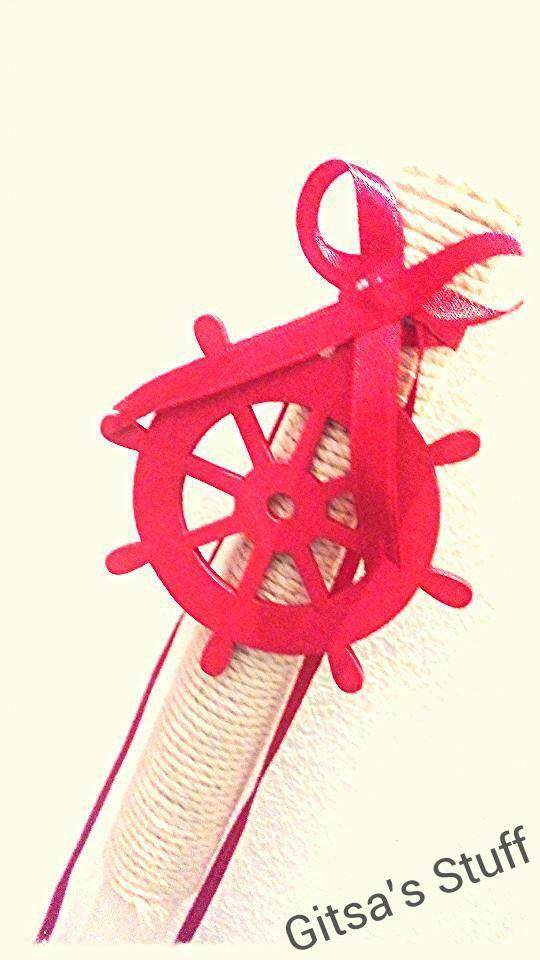 Easter Candle.. Handmade.. Rope.. Steering Wheel.. Red..