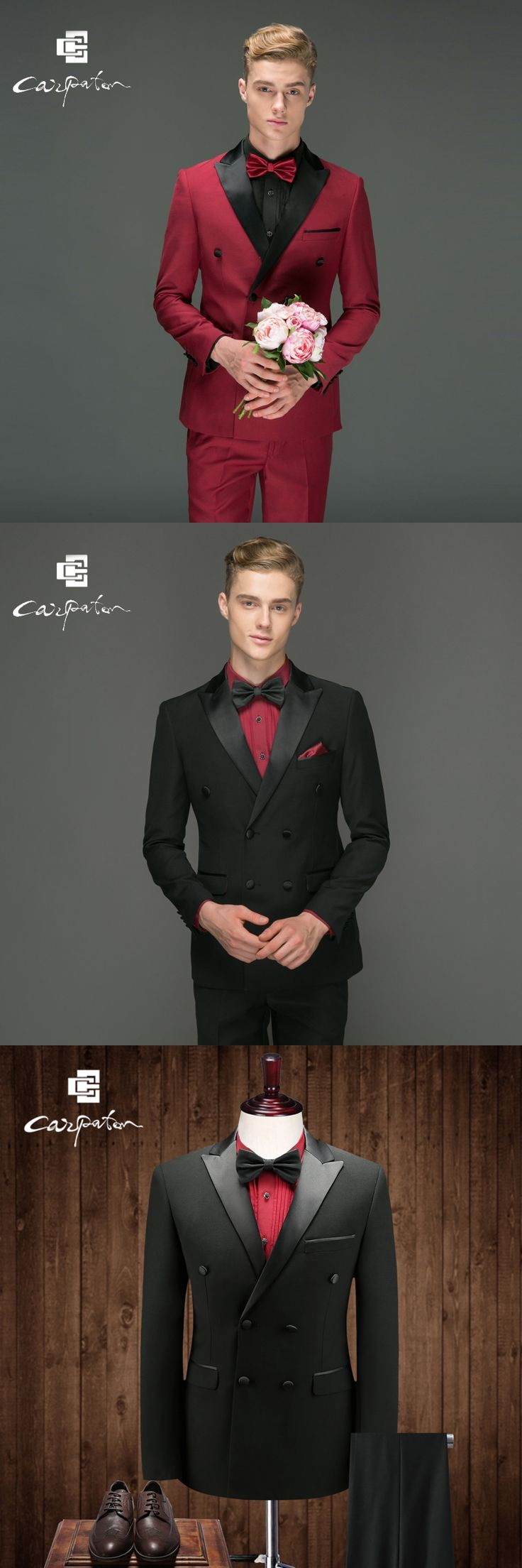 Carpaton Men Suit Black Wool Designer 2PCS Suit Double Breasted Brand Skinny Tuxedo Large Size Grooms Wedding Suits For Men Host