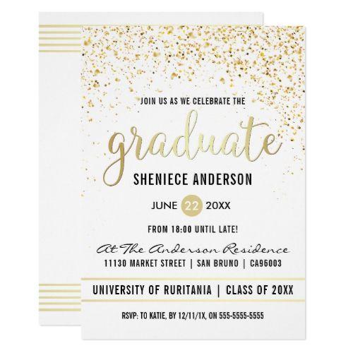Gold Confetti & Script on White   Graduation Party Card