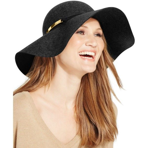 Calvin Klein Wool Felt Floppy Hat ($48) ❤ liked on Polyvore featuring accessories, hats, black, bohemian hat, felt hat, black wool hat, floppy hat and wool felt hat