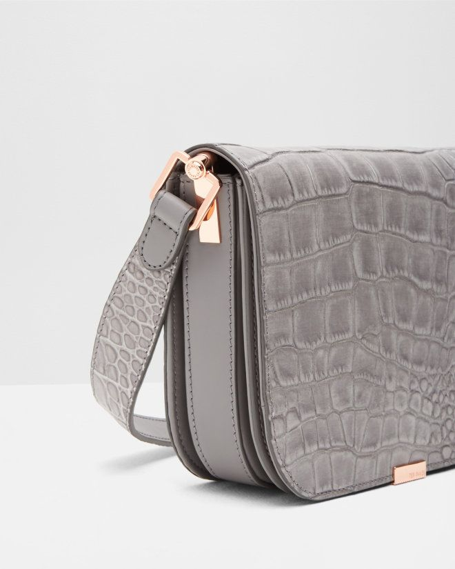 Metallic bar leather shoulder bag - Grey | Bags | Ted Baker UK