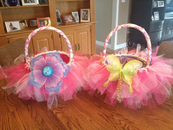 43 best tutu baskets images on pinterest party box and centerpieces perfect easter baskets for our princesses we dressed up white wicker baskets with tulle threaded negle Images