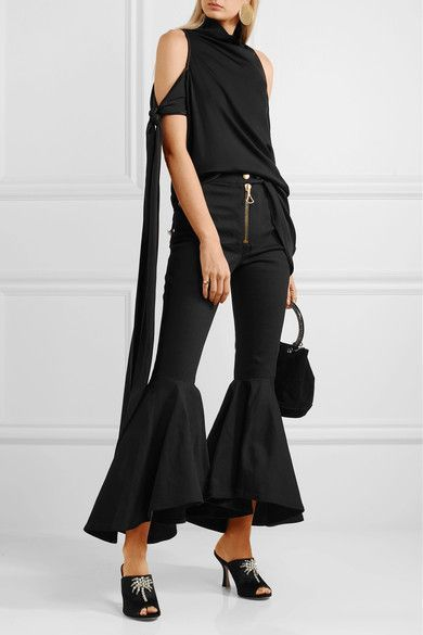 Ellery - The Lizzies Cold-shoulder Draped Stretch-silk Top - Black - UK
