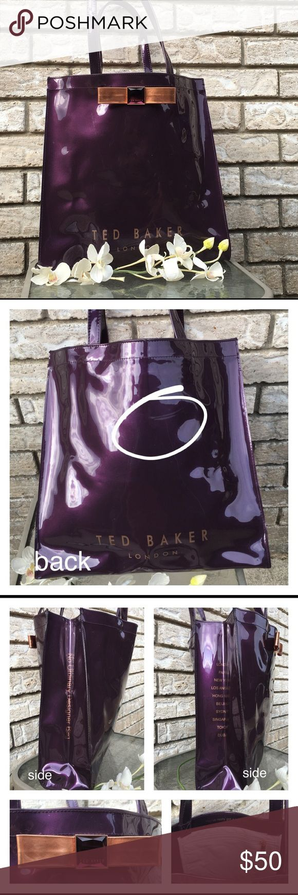 """Large Ted Baker vinyl tote bag Ted Baker large tote bag in pretty good condition for the most part. Does have a scuff on the back side (2nd picture) and some light scuffs here and there; nothing major that takes away from it. This is a large tote bag that will allow you to carry quite a bit. Dimensions are as follow.. H 14.5"""" x W 14.5"""" x D 4.5"""" approx. strap drop approx 9"""". Ted Baker Bags Totes"""