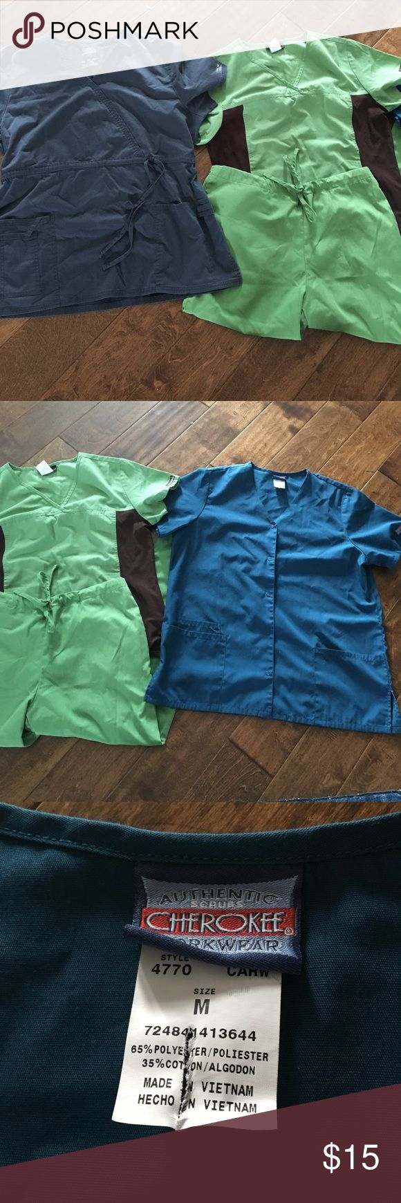Scrubs bundle! Cherokee brand! Short sleeve jacket size M • grey top size large but it ties in the front so it fits like a loose M • green pants (M) along with matching green/brown top (M)• all great condition! Smoke free home! Cherokee Other