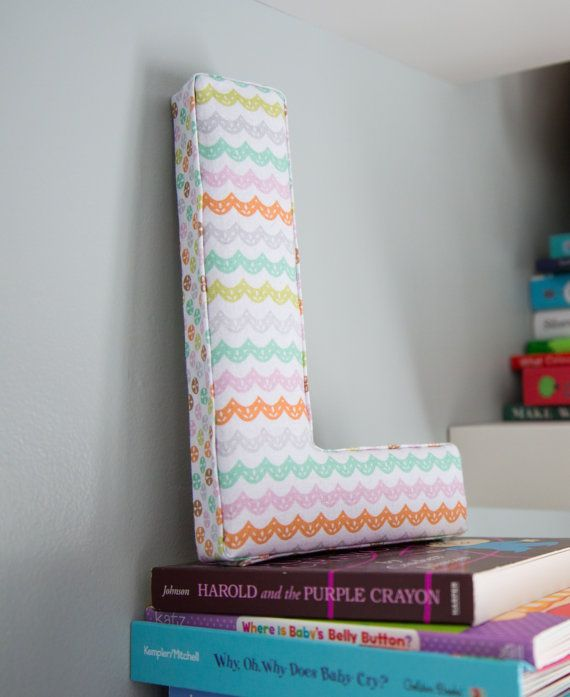 Fabric Letter :  Initial L Pastel Rainbow Scallop Pink Teal Orange Hanging Wall Decor