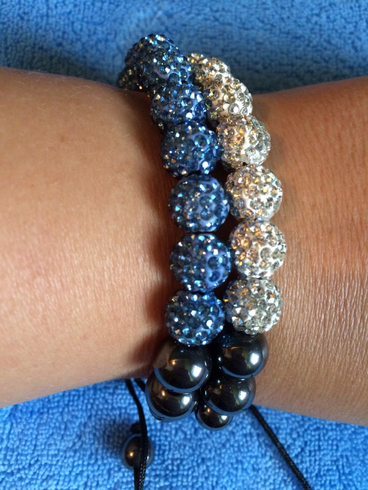 Blue & white shamballa bracelet