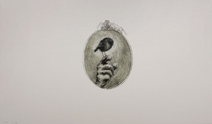 Ben Reid, <i>A Bird In The Hand</i>, Drypoint and Relief  on 505 x 725 mm paper, from an edition of 5, 2009. NZ$735 incl GST.