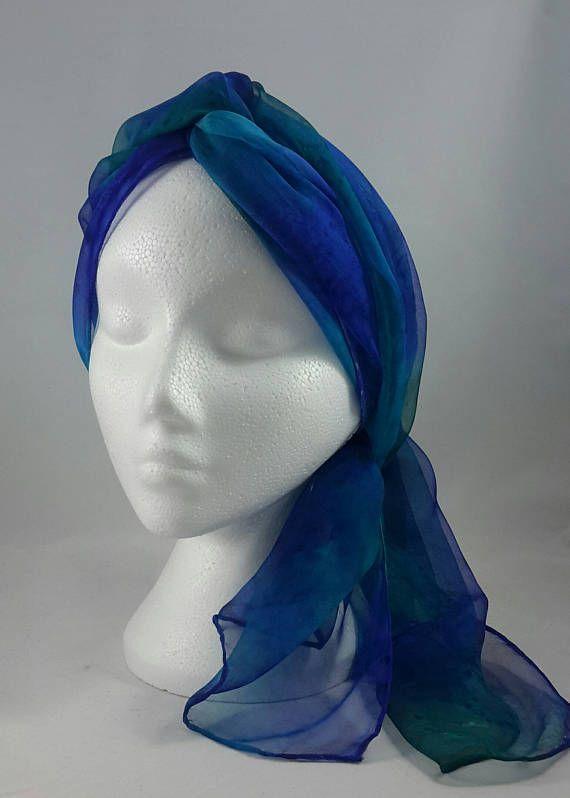 fe152a151738b Hand painted silk chiffon scarf. Colours used – cornflower blue ...