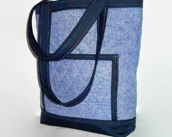 Großen gestepptem Denim Tasche, Upcycled Blue Jean Tote, recycelten Jean Beutel, Upcycled Buch Tasche, Repurposed Stoff Handtasche, Damen Handtasche
