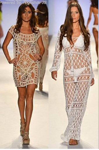 Lace beach dresses the one on the curiously looks like hairpin lace.  For inspiration only