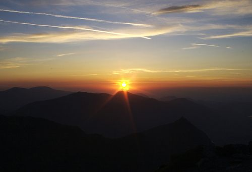 Sunrise from the top of Snowdon. While in Hawaii I saw the sunrise from the top of a volcano and lost the picture. This is a great substitute.