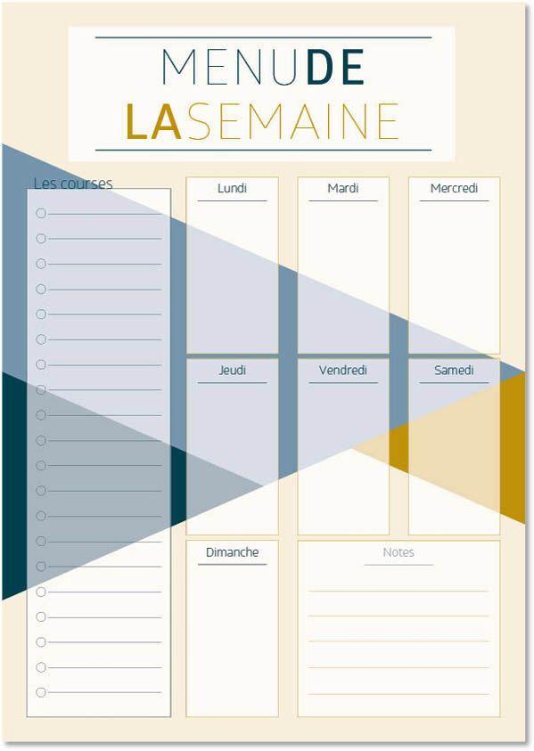 Planificateur de repas imprimable, A4, Menu de la semaine / Food, Printable meal planner de la boutique ArwenPrint sur Etsy