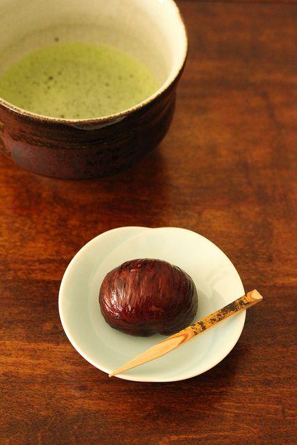 Japanese marron glace and matcha tea