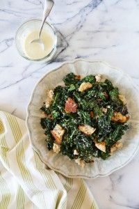 Grilled Kale Caesar with Torn Croutons