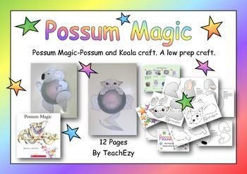 This low preparation activity can be used in conjunction with the story by Mem Fox of Possum Magic or as a craft on its own.Includes:Display backgroundsKoala craftPossum CraftThe wombat and echidna in the display have been taken for our Australian Animal Craft resources found @ https://www.teacherspayteachers.com/Product/Australian-Animals-Craft-1024989