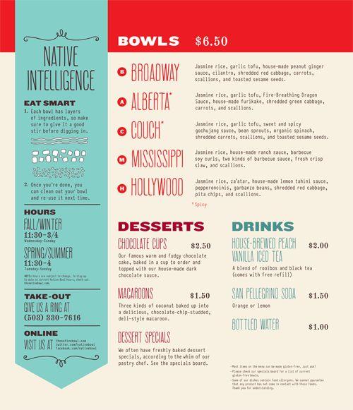 Native Bowl menu design, Portland, OR | Designer: Parliament - http://weareparliament.com
