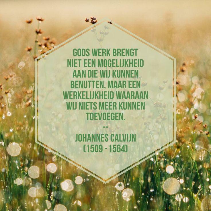 Gods werk brengt niet een mogelijkheid aan die wij kunnen benutten, maar een werkelijkheid waaraan wij niets meer kunnen toevoegen.   Johannes Calvijn (1509 - 1564)