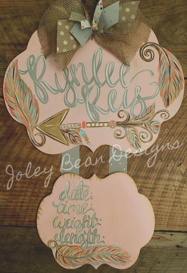 Joley Bean Designs, feathers, arrows, baby door hanger, hospital door hanger, girl, pink